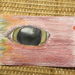 This is an eye drawn by hand with colored pencils